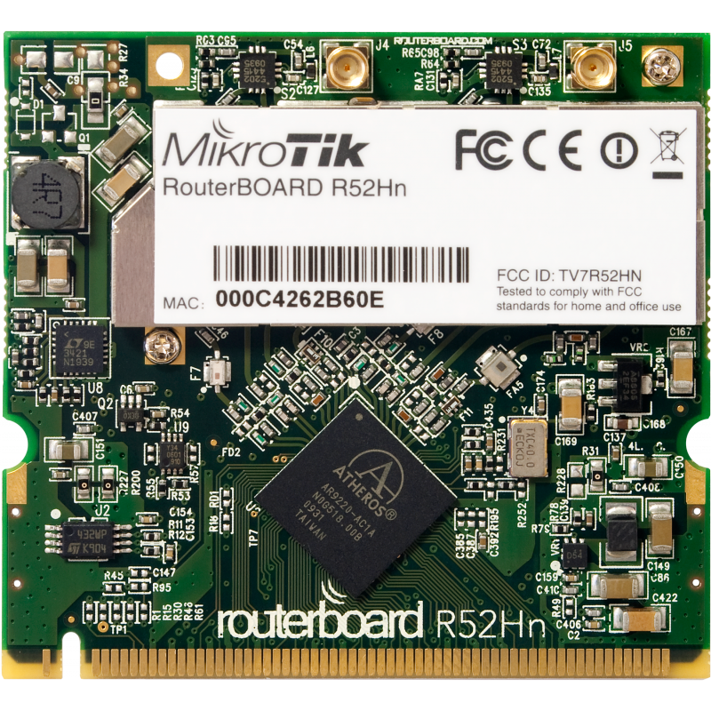 RouterBOARD R52Hn 2.4/5GHz hög effekt radio kort MMCX kontakt