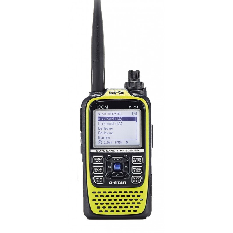 Icom ID-51E Plus, Gul D-star VHF/UHF, GPS, Micro SD, IP-X7